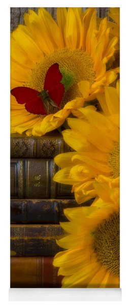 Sunflowers And Old Books Yoga Mat