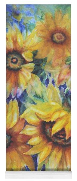 Sunflowers On Blue I Yoga Mat
