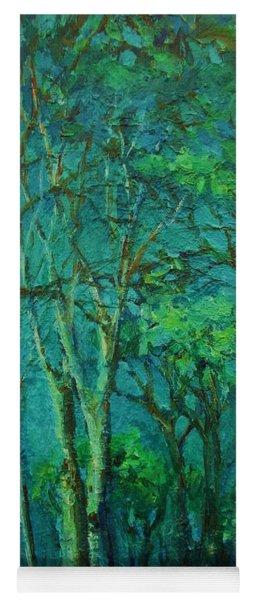 Sunlit Woodland Path Yoga Mat