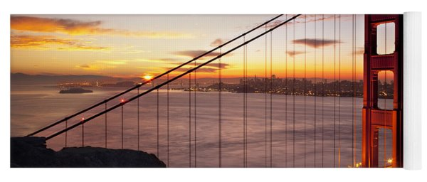 Yoga Mat featuring the photograph Sunrise Over The Golden Gate Bridge by Brian Jannsen