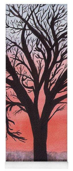November Sunrise Walnut Tree Watercolor Yoga Mat