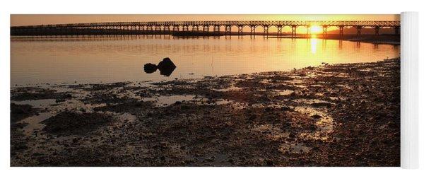Sunset And Wooden Bridge In Ludo Yoga Mat