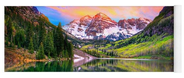 Sunset At Maroon Bells And Maroon Lake Aspen Co Yoga Mat