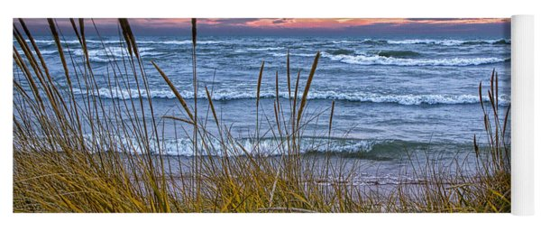 Sunset On The Beach At Lake Michigan With Dune Grass Yoga Mat