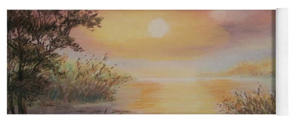 Yoga Mat featuring the painting Sunset By The Lake by Katalin Luczay