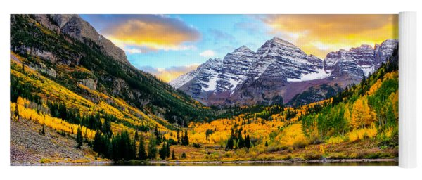 Sunset On Maroon Bells Yoga Mat