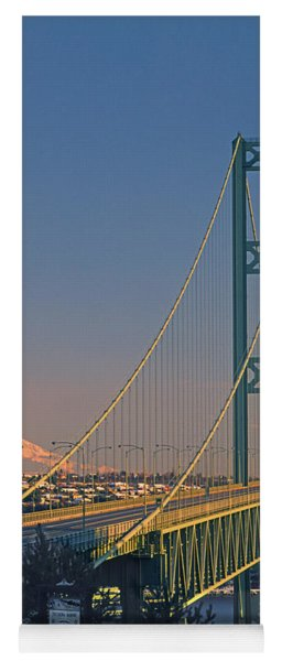 1a4y20-v-sunset On Rainier With The Tacoma Narrows Bridge Yoga Mat