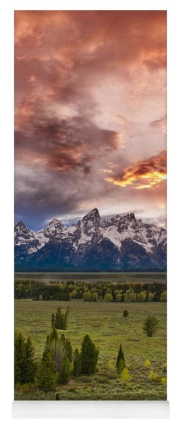 Sunset Over The Tetons  Yoga Mat