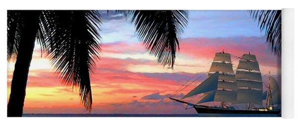 Sunset Sailboat Filtered Yoga Mat