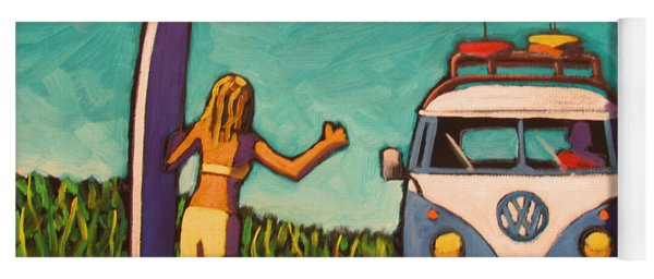 Surfer Girl And Vw Bus Yoga Mat