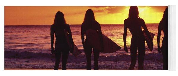 Surfer Girl Silhouettes Yoga Mat
