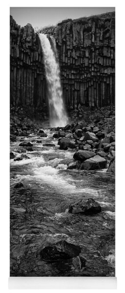 Yoga Mat featuring the photograph Svartifoss Waterfall In Black And White by IPics Photography