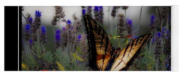 Swallowtail Among Blue Flowers Yoga Mat