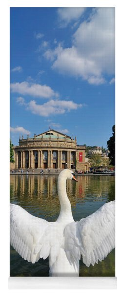 Swan Spreads Wings In Front Of State Theatre Stuttgart Germany Yoga Mat