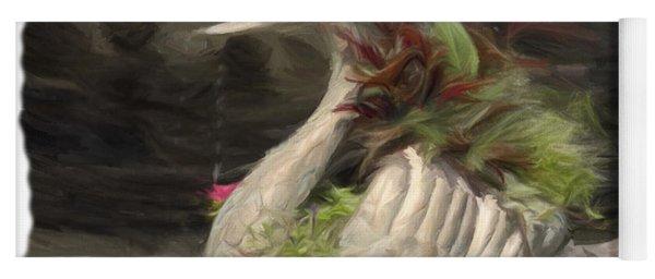 Swan With Beautiful Flowers Yoga Mat