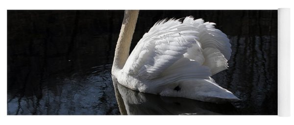 Swan With Reflection  Yoga Mat