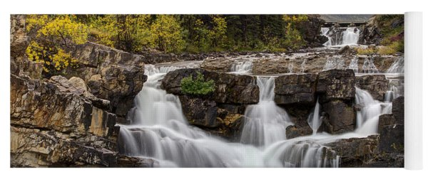Swiftcurrent Falls In Autumn Yoga Mat