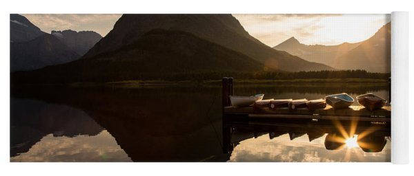 Swiftcurrent Lake Boats Reflection And Flare Yoga Mat