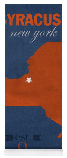Syracuse University New York Orange College Town State Map Poster Series No 102 Yoga Mat