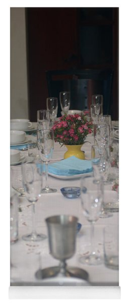 Table Set For A Jewish Festive Meal Yoga Mat