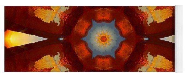 Tangerine Sunset Crystal Mandala Yoga Mat