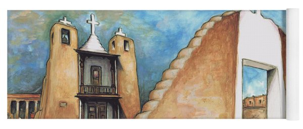 Taos Pueblo New Mexico - Watercolor Art Painting Yoga Mat