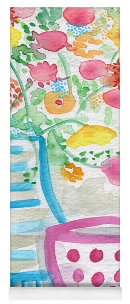 Tea And Fresh Flowers- Whimsical Floral Painting Yoga Mat
