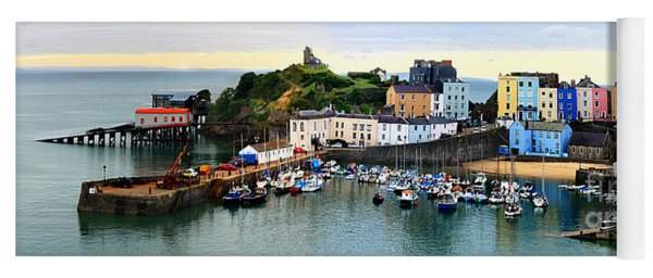Tenby Harbour Panorama Yoga Mat
