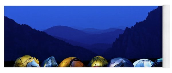 Tents Illuminated Near Mountains Yoga Mat