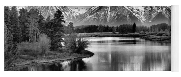 Tetons In Black And White Yoga Mat