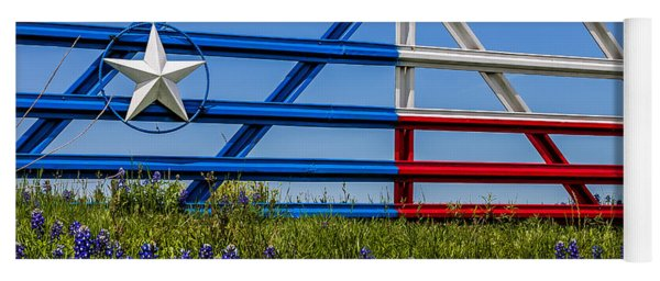 Texas Flag Painted Gate With Blue Bonnets Yoga Mat