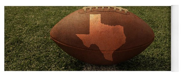 Texas Football Art - Leather State Emblem On Marked Field Yoga Mat