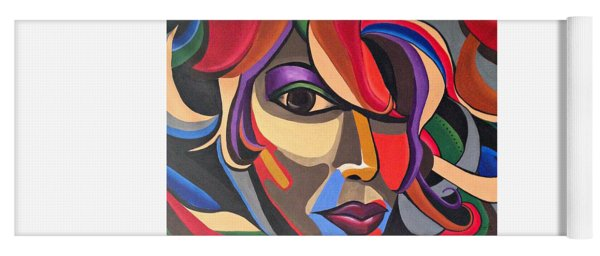 Abstract Woman Art, Abstract Face Art Acrylic Painting Yoga Mat