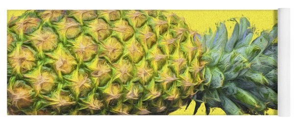 The Digitally Painted Pineapple Sideways Yoga Mat