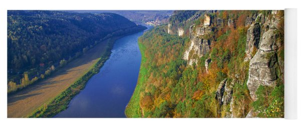 The Elbe Sandstone Mountains Along The Elbe River Yoga Mat