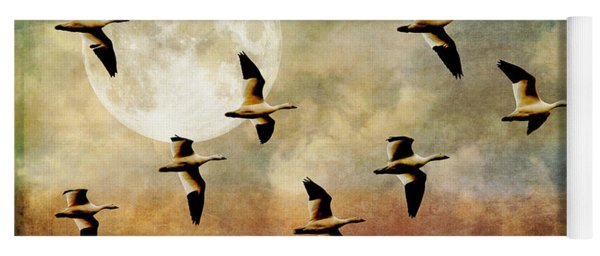 The Flight Of The Snow Geese Yoga Mat