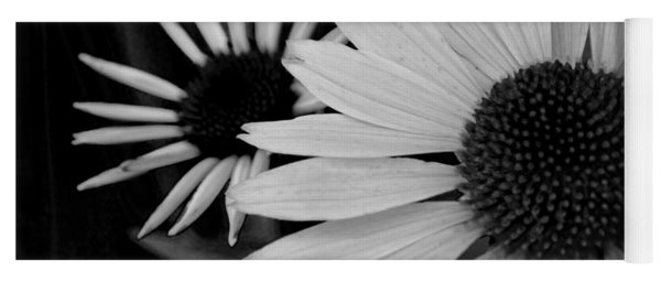The General Cone Flower Black And White Yoga Mat