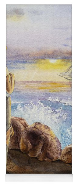 The Girl And The Ocean Yoga Mat