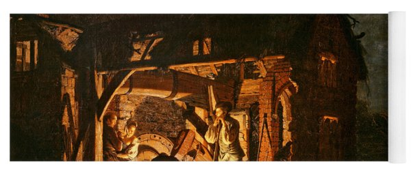 The Iron Forge Viewed From Without, C.1770s Oil On Canvas Yoga Mat