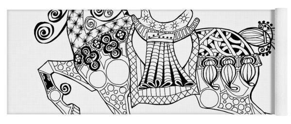 The King's Horse - Zentangle Yoga Mat