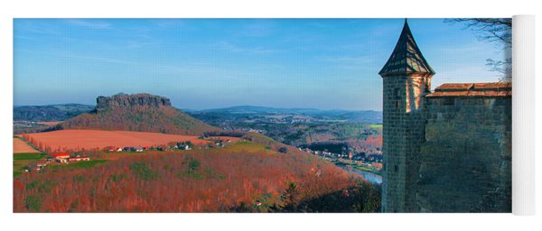 The Lilienstein Behind The Fortress Koenigstein Yoga Mat