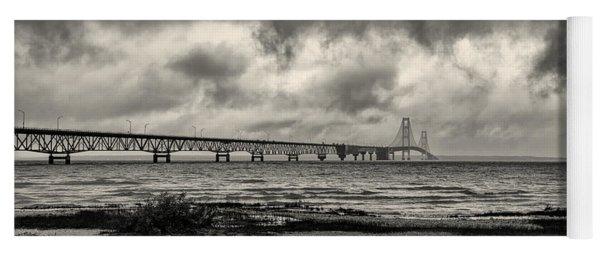 The Mackinac Bridge B W Yoga Mat