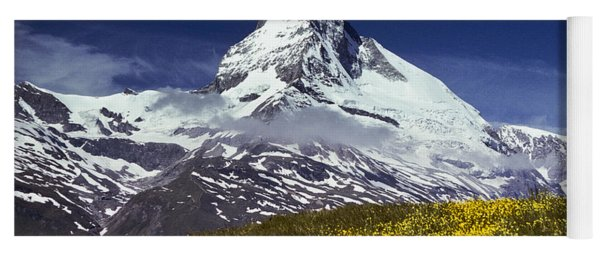 The Matterhorn With Alpine Meadow In Foreground Yoga Mat