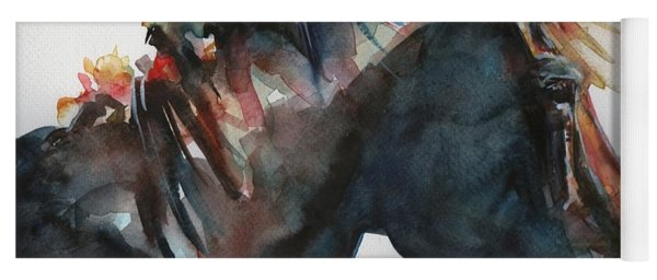Black Horse Painting In Watercolor The Open Door Yoga Mat