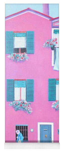 The Pink House With Green Shutters Yoga Mat