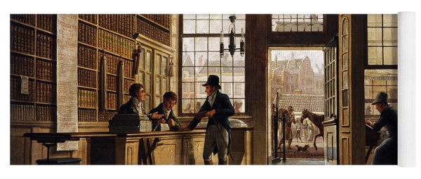 The Shop Of The Bookdealer Pieter Meijer Warnars On The Vijgendam In Amsterdam, 1820, By Johannes Yoga Mat