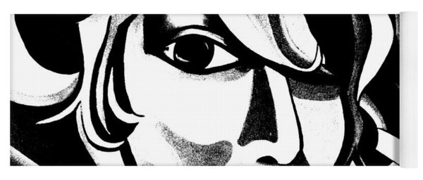Black And White Abstract Woman Face Art Yoga Mat