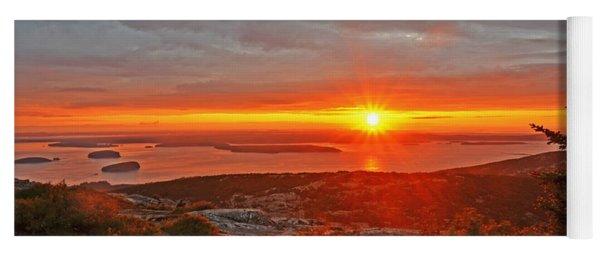 The Sunrise From Cadillac Mountain In Acadia National Park Yoga Mat