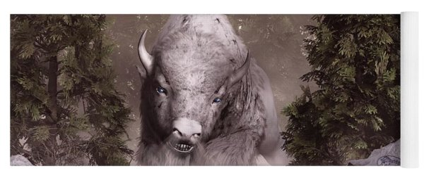 Yoga Mat featuring the digital art The White Buffalo by Daniel Eskridge