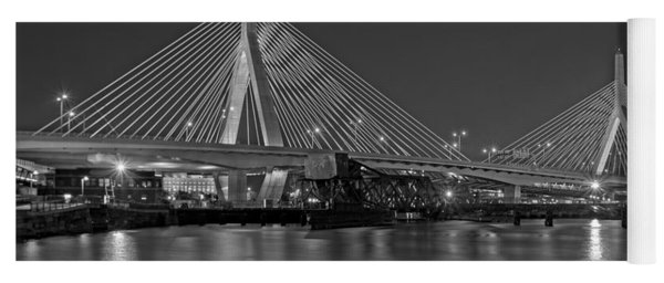 The Zakim Bridge Bw Yoga Mat